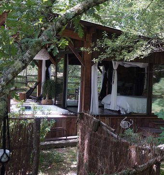 cabane dans les arbres l 39 o2 la cabane vitr e. Black Bedroom Furniture Sets. Home Design Ideas